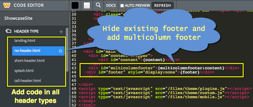 Add Multicolumn Footer in HTML