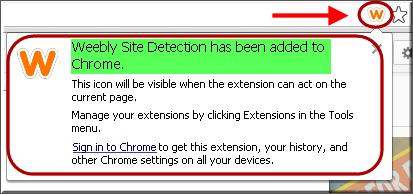 Уведомление Chrome о расширении добавлено