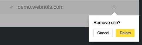 Delete Site in Yandex