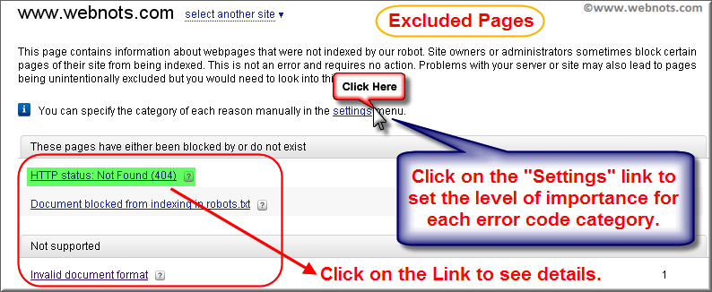 Excluded Pages in Yandex Webmaster Tools