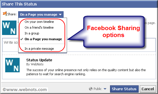Facebook Sharing Options
