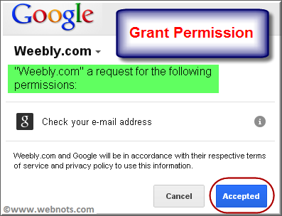 Grant Permission to Google for Weebly App