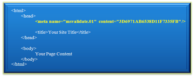 HTML Meta Tag for Bing Webmaster Tools Verification