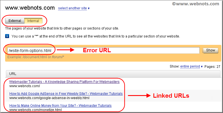 Linked URLs Detail for Error Page in Yandex