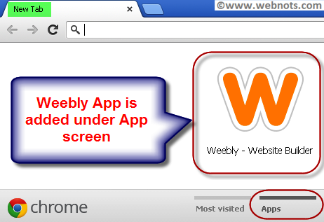 View Weebly App in Chrome New Tab