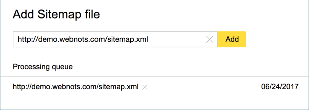 Processing Status of Sitemap in Yandex