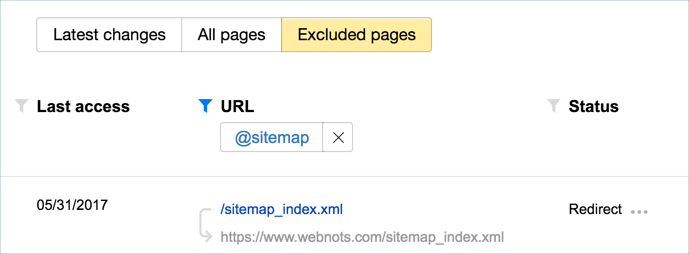 Sitemap URL in Excluded Pages of Yandex