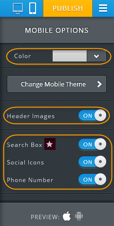 Weebly Mobile Editor Design Options