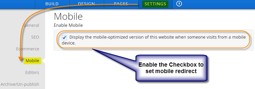 Weebly Mobile Redirect Setting