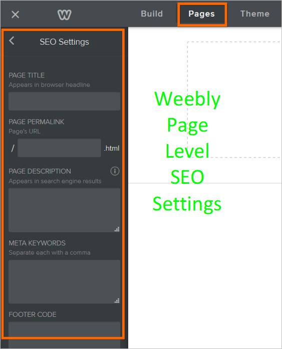 Weebly SEO Settings Tab