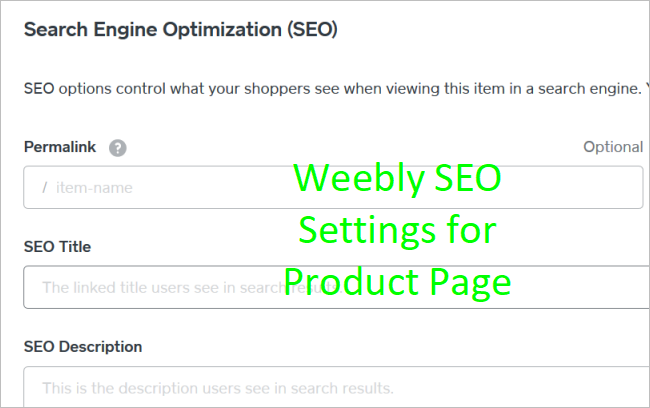 Weebly SEO Settings for Store