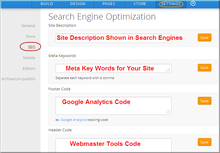 Site SEO Settings in Weebly Settings Tab