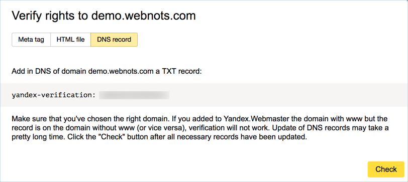 Yandex DNS Record Verification Method