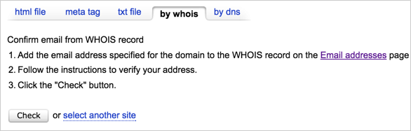 Yandex Site Verification with WHOIS Email