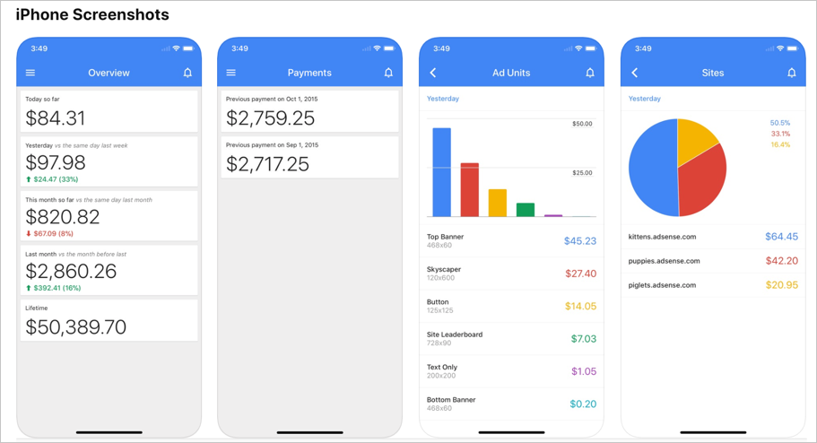 AdSense iOS App Screens