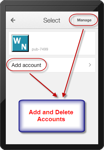 Add and Delete Accounts in AdSense iOS App