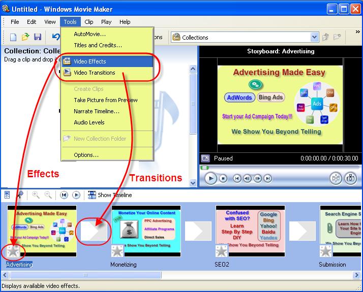 Добавление эффектов и переходов в Windows Movie Maker