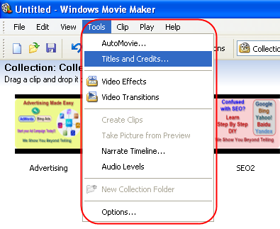 Adding Titles and Credits in Windows Movie Maker