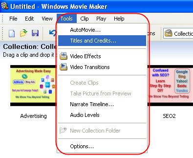 Добавление названий и титров в Windows Movie Maker