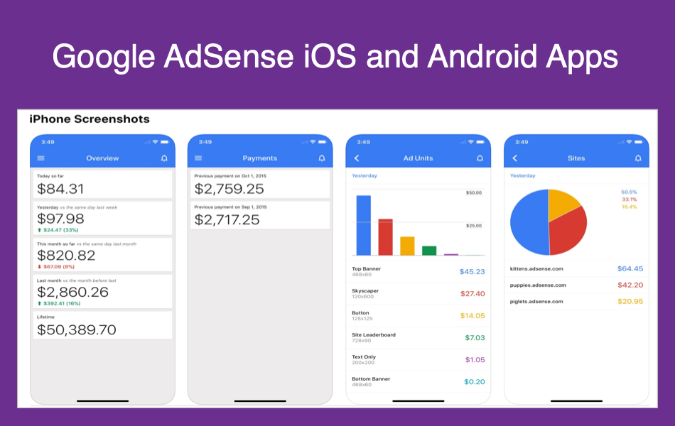 Google AdSense iOS and Android Apps