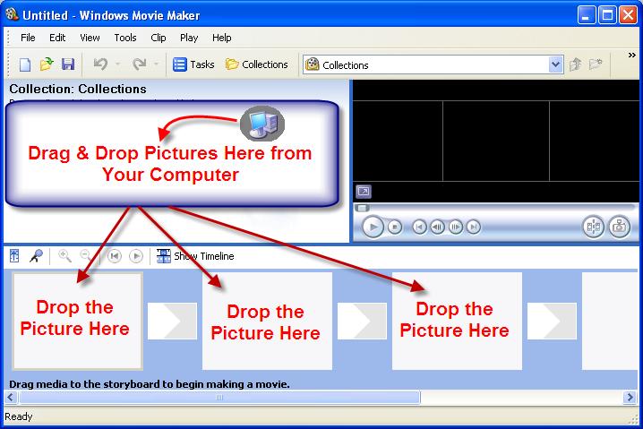 Импорт изображений в Windows Movie Maker