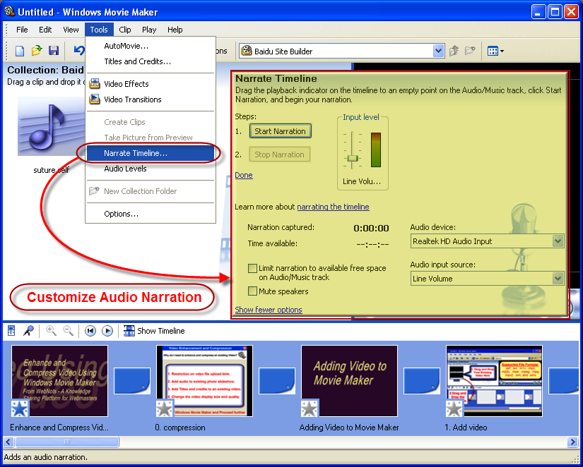 Narrate your Video in Windows Movie Maker