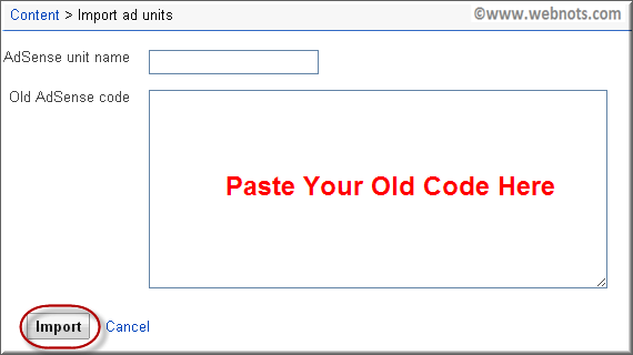 Вставьте старый рекламный код для импорта