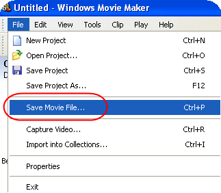 Saving Movie File in Windows Movie Maker
