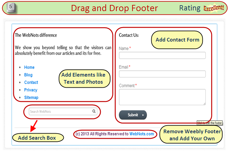 Weebly flexible drag and drop footer for free and pro for Weebly drag and drop templates