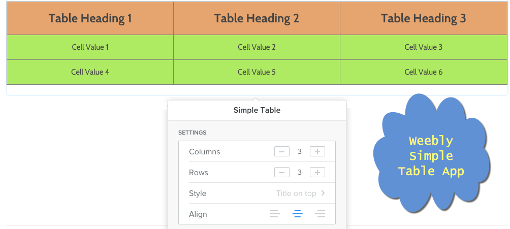 Weebly Simple Table App