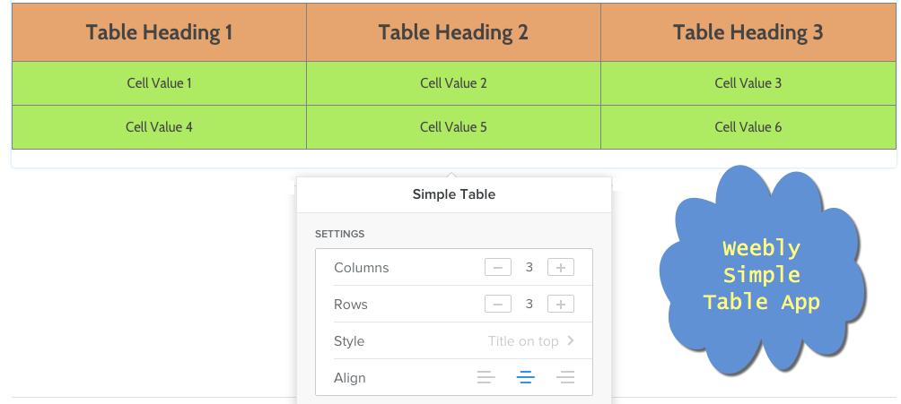 Приложение Weebly Simple Table