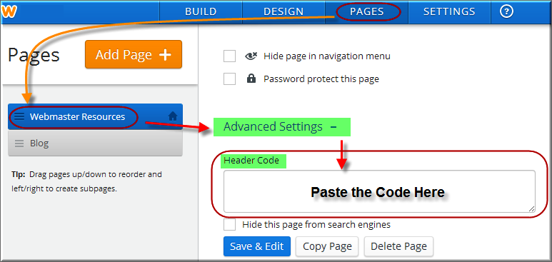 Add Code in Single Weebly Page