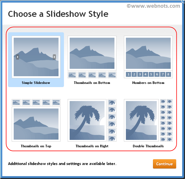 Choose Slideshow Style in Weebly