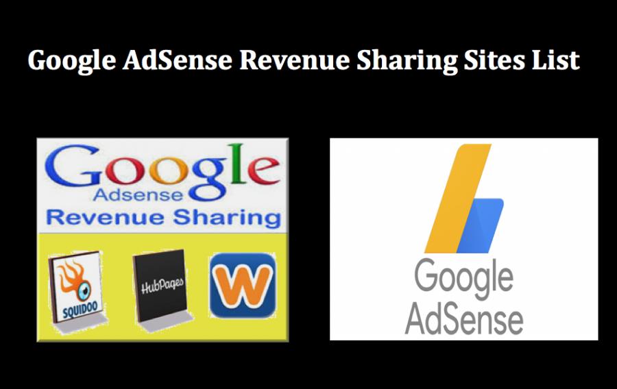 Google AdSense Revenue Sharing Sites List