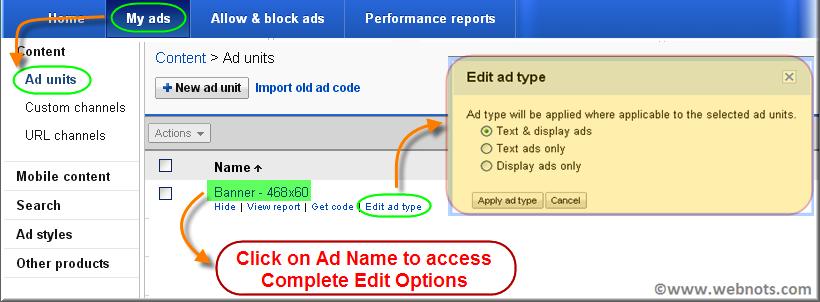 Change AdSense Ad Type