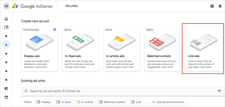 Create Link Ads in Google AdSense