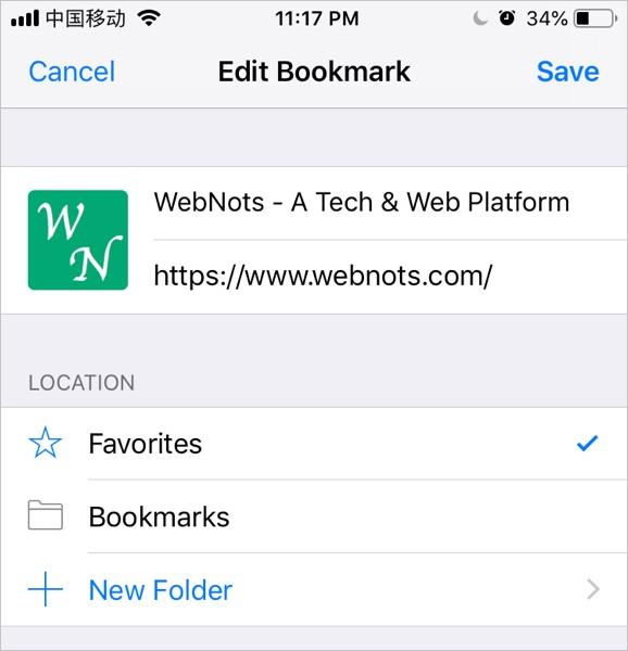 Edit Bookmark in iOS Safari