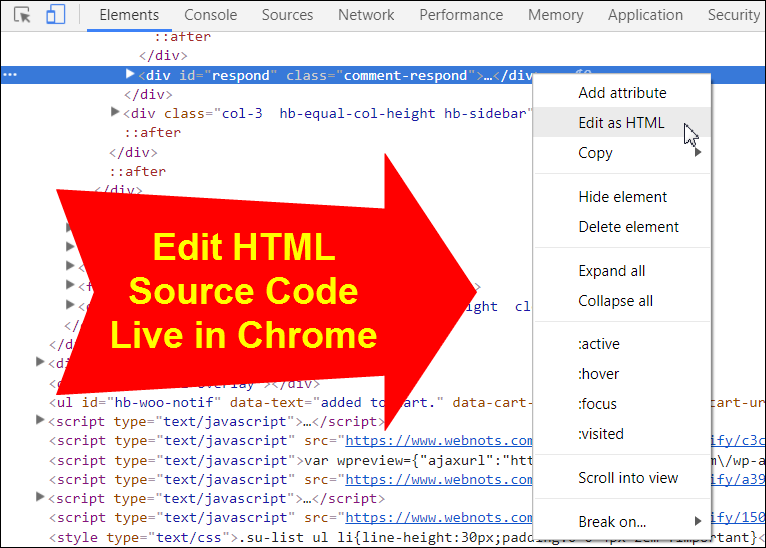 Edit HTML Source Code Live in Chrome