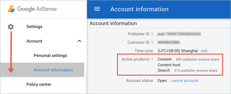 Find Revenue Sharing Info in AdSense Account