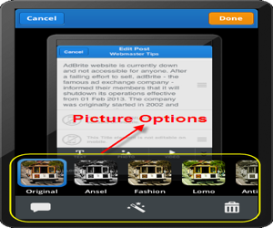 Picture Editing Options in Weebly iPhone App