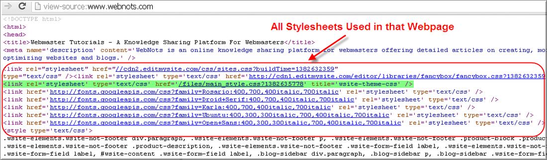 Stylesheet Links in a Page Source