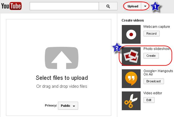 Upload Photo Slideshow Option in YouTube