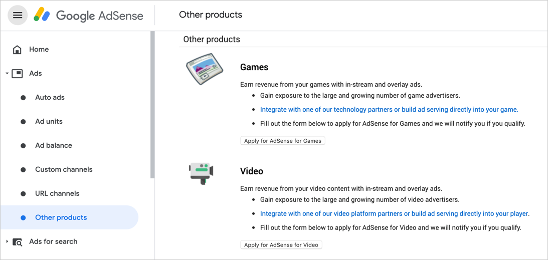 Videos and Games Ads in AdSense