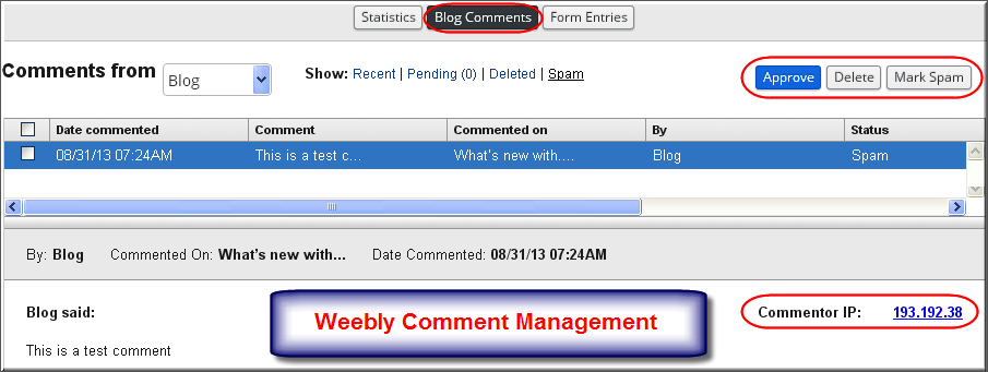Weebly Comment Management