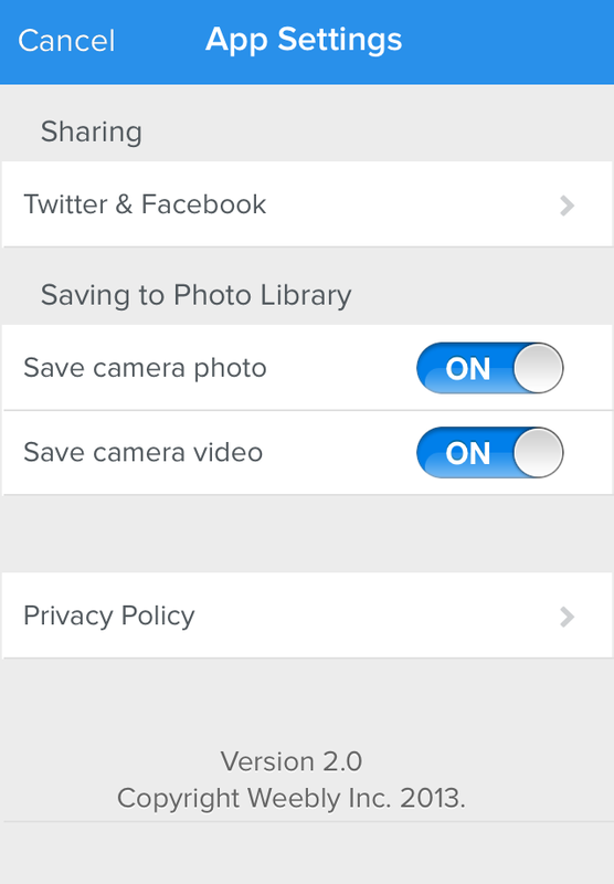 Weebly iPhone App Settings