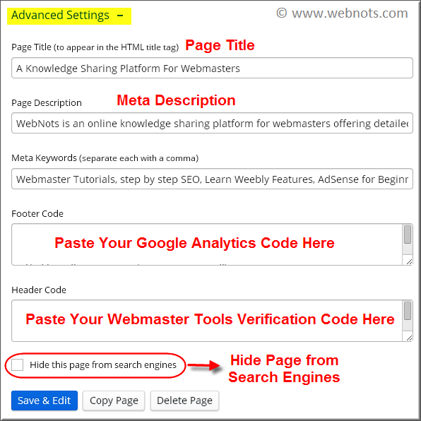 Advanced Weebly Page Settings