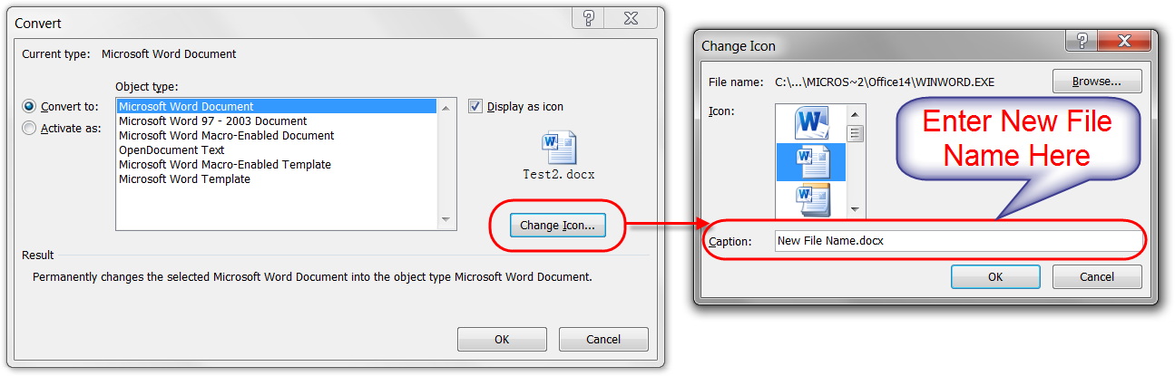 Change Already Embedded File Name
