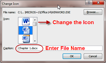 Choose Icon & Enter File name