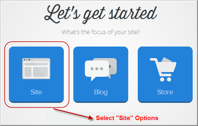 Choose Weebly Site Creation Option