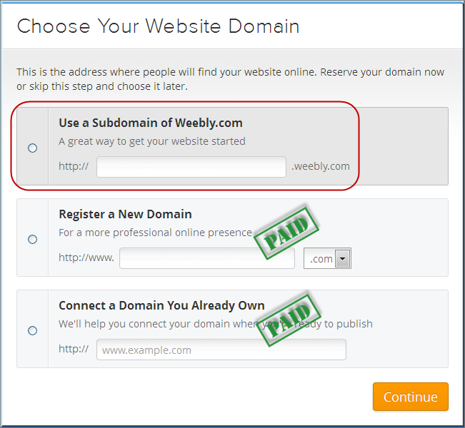Choose Your Weebly Site domain